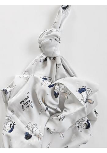 Bambusová deka na léto pro miminka - zajíčci (polštář grátis)