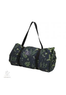 Černo-zelená pikniková deka s bylinkovým motivem