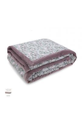 Sametová teplá deka starorůžové barvy s vintage květy