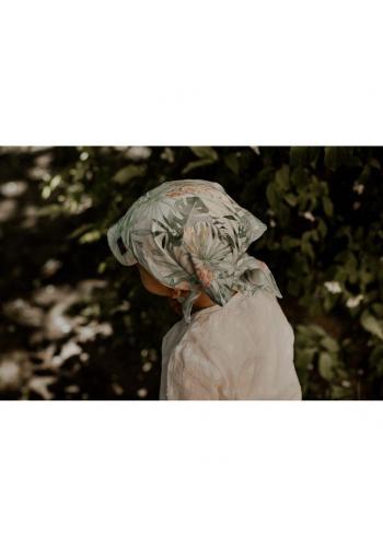 Vázaná šátek s kšiltem s vintage květy - 100% bambus