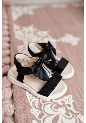 Dívčí sandály s brokátem a mašlí v černé barvě