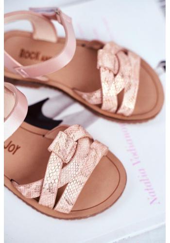 Růžové sandály s motivem hadí kůže pro dívky