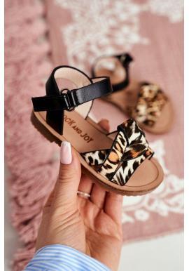 Dívčí sandály s leopardím vzorem v černé barvě