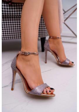 Třpytivé dámské sandály růžovo-zlaté barvy na štíhlém podpatku