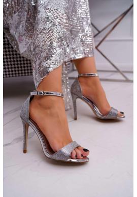 Dámské třpytivé sandály na štíhlém podpatku ve stříbrné barvě