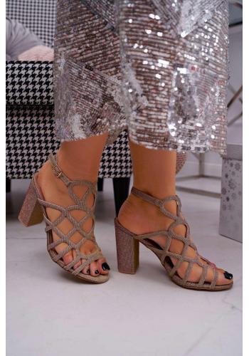 Dámské třpytivé sandály na stabilním podpatku v růžovo-zlaté barvě