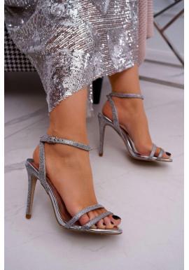 Stříbrné třpytivé sandály na štíhlém podpatku pro dámy