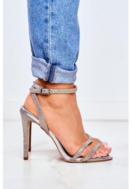 Třpytivé dámské sandály zlaté barvy na štíhlém podpatku