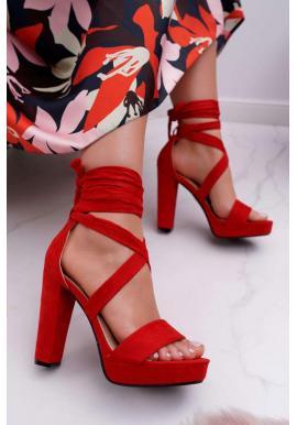 Dámské vázané sandály na stabilním podpatku v červené barvě