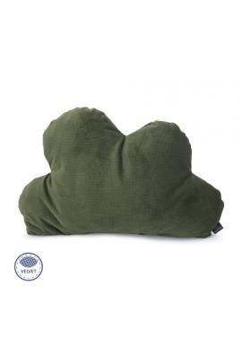 Sametový polštář - oblak v tmavě zelené barvě