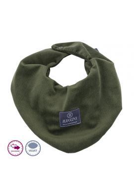 Tmavě zelený oboustranný sametový šál na suchý zip
