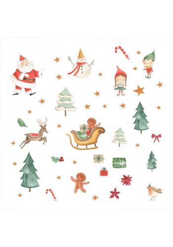 Barevná sada nálepek s vánočním motivem - 57 ks