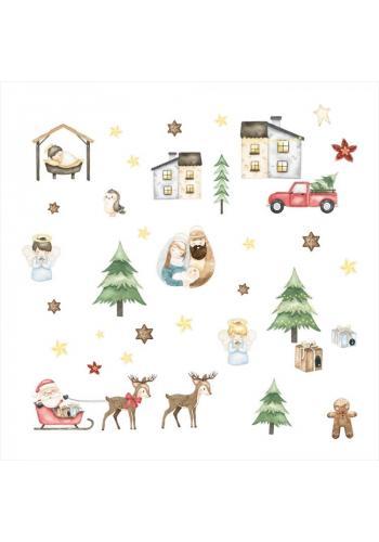 Sada nálepek s vánočním motivem - 36 ks