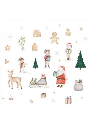 Barevná sada nálepek s vánočním motivem - 34 ks