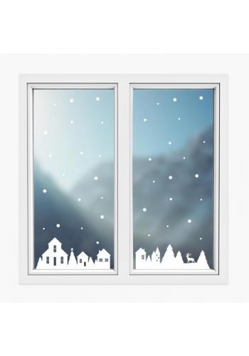 Sada vánočních nálepek v podobě zimních domků