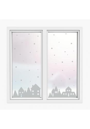 Vánoční sada nálepek v podobě zimních domků