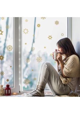 Vánoční sada nálepek v podobě sněhových vloček a hvězd