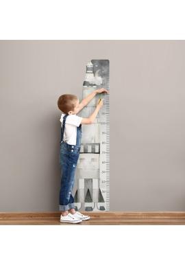 Dětský výškový metr na zeď s vesmírným motivem rakety