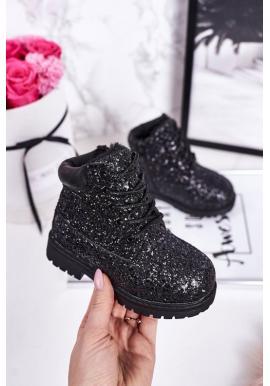 Černé oteplené třpytivé holínky pro dívky