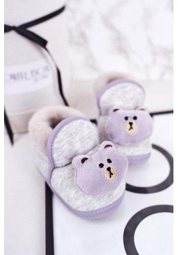 Papuče v šedé barvě s medvídkem pro miminka