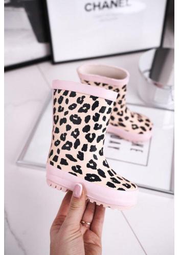 Stylové růžové leopardí gumáky pro dívky