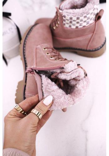 Dívčí oteplené traperky v růžové barvě