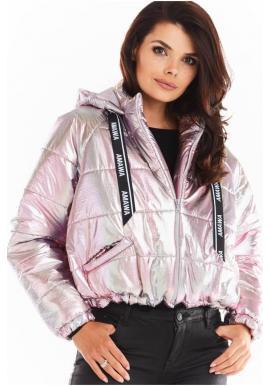 Holografická dámská bunda růžové barvy s oversize střihem