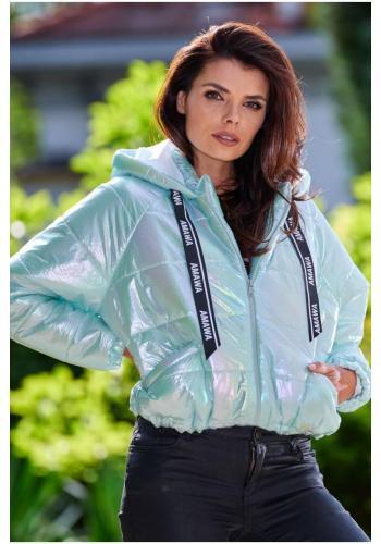 Dámská holografická bunda s oversize střihem v mátové barvě