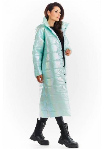 Dlouhá dámská holografická bunda mátové barvy s prošíváním