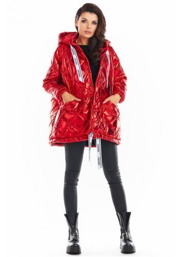 Červená prošívaná bunda s oversize střihem pro dámy