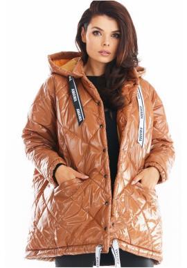 Dámská prošívaná bunda s oversize střihem v béžové barvě