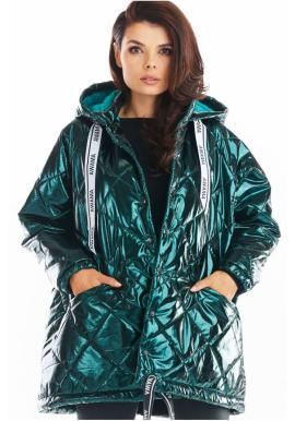 Prošívaná dámská bunda zelené barvy s oversize střihem