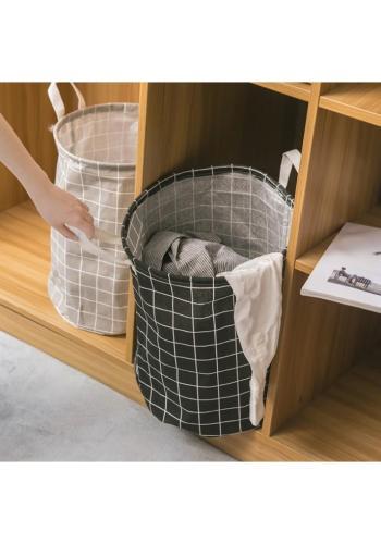 Černý koš na hračky nebo prádlo s mřížkovaným vzorem