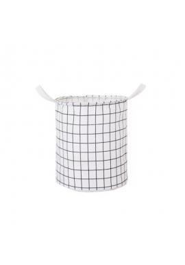 Koš na hračky nebo prádlo s mřížkovaným vzorem v bílé barvě