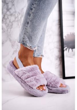 Trendy fialové pantofle s kožešinou pro dámy