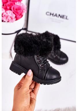 Stylové černé traperky pro dívky s kožešinou