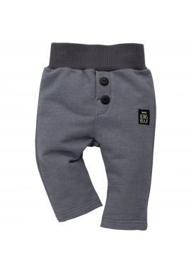 Šedé dětské kalhoty s ozdobnými knoflíky