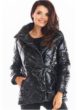 Dámská prošívaná bunda s vysokým límcem v černé barvě