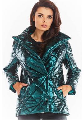 Prošívané dámské bundy zelené barvy s vysokým límcem