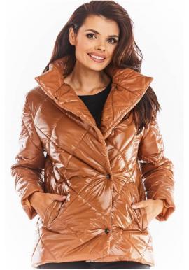 Béžová prošívaná bunda s vysokým límcem pro dámy