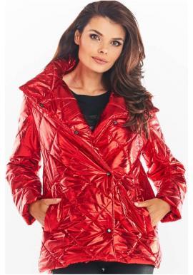Dámská prošívaná bunda s vysokým límcem v červené barvě