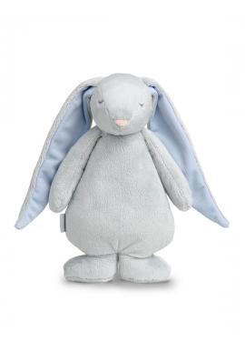 Světle šedý svítící králík MOONIE se šumivým efektem s modrými oušky