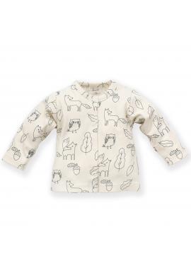 Smetanový dětský svetřík s motivem lesních zvířátek