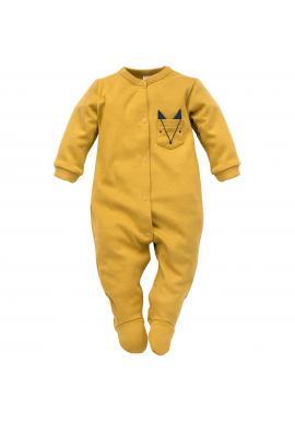 Pohodlný dětský overal žluté barvy s ozdobnou kapsou
