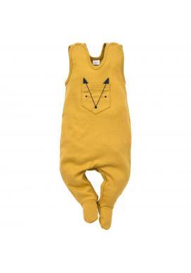 Pohodlné dětské dupačky žluté barvy s kapsou