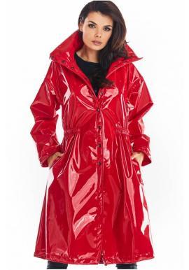 Dlouhá dámská vinylová bunda červené barvy s vysokým límcem