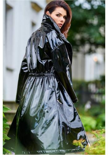 Černá dlouhá vinylová bunda s vysokým límcem pro dámy