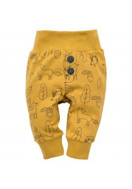Dětské žluté tepláky s motivem lesních zvířat