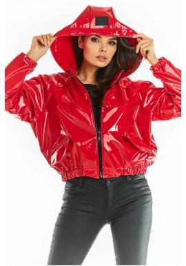 Červená vinylová krátká bunda s kapucí pro dámy