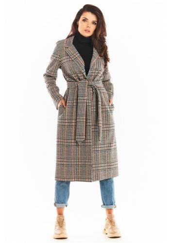 Dámský dlouhý károvaný kabát s páskem v tmavě modré barvě